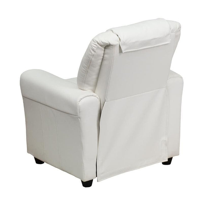 Contemporary White Vinyl Kids Recliner With Cup Holder And Headrest - Kids Recliners
