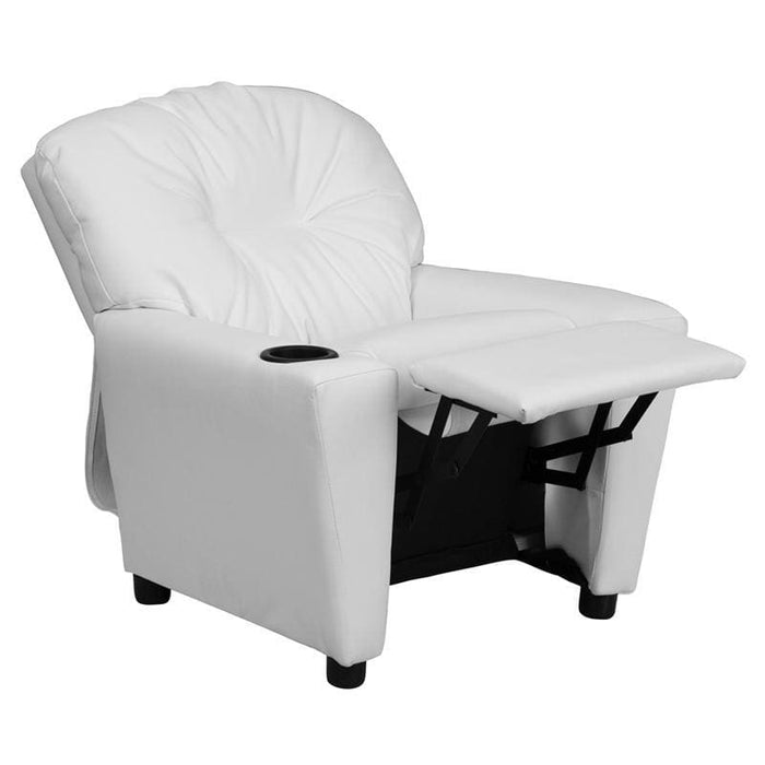 Contemporary White Vinyl Kids Recliner With Cup Holder - Kids Recliners