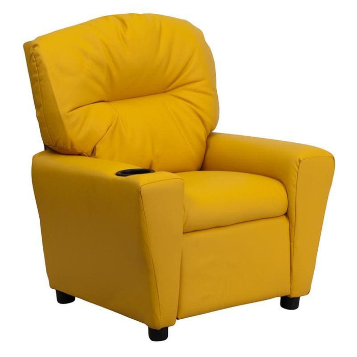 Contemporary Yellow Vinyl Kids Recliner With Cup Holder - Kids Recliners