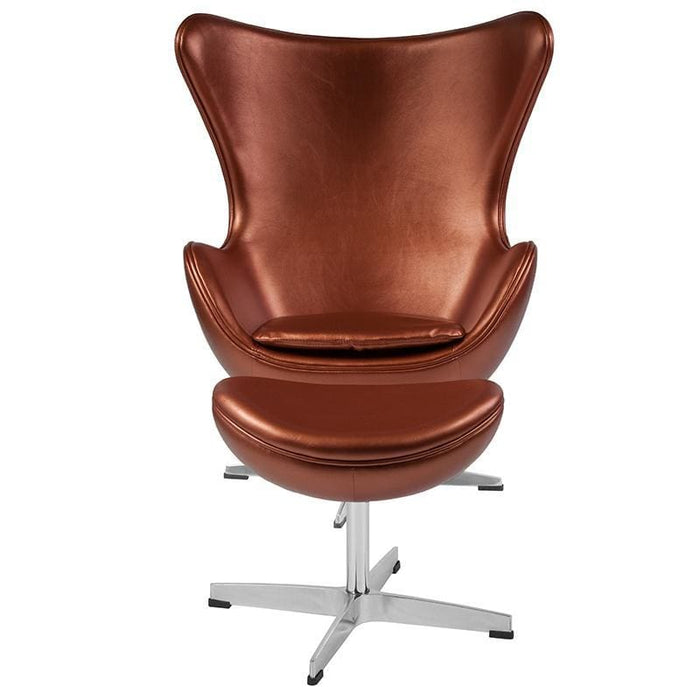 Copper Leather Egg Chair With Tilt-Lock Mechanism And Ottoman - Reception Furniture - Chair And Ottoman Sets