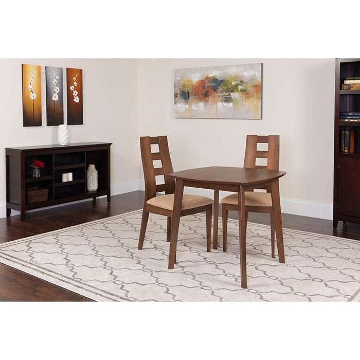 Cranston 3 Piece Walnut Wood Dining Table Set With Window Pane Back Wood Dining Chairs - Padded Seats - Dinette Sets
