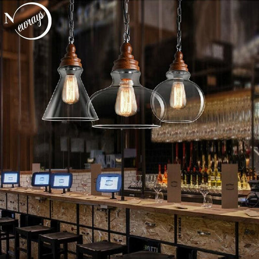 Creative Nordic Wood Single Head Pendant Lights E27 - Lighting