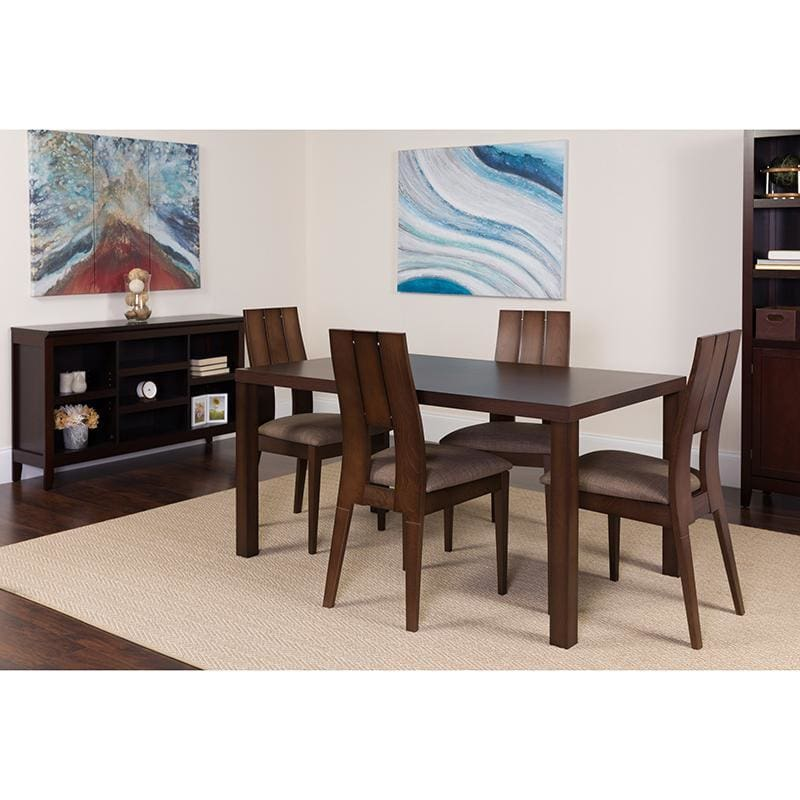 Dalston 5 Piece Espresso Wood Dining Table Set With Curved Slat Keyhole Back Wood Dining Chairs - Padded Seats - Dinette Sets