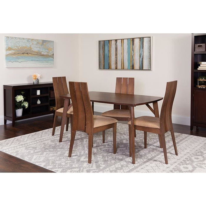Dearborn 5 Piece Walnut Wood Dining Table Set With Wide Slat Back Wood Dining Chairs - Padded Seats - Dinette Sets