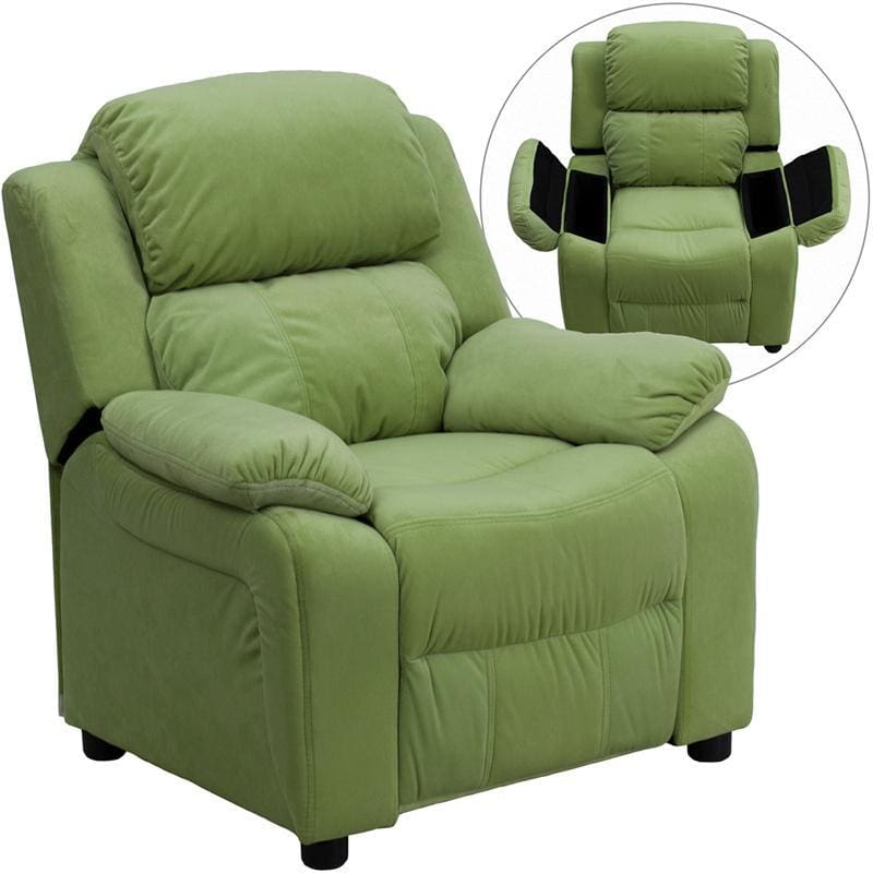 Deluxe Padded Contemporary Avocado Microfiber Kids Recliner With Storage Arms - Kids Recliners