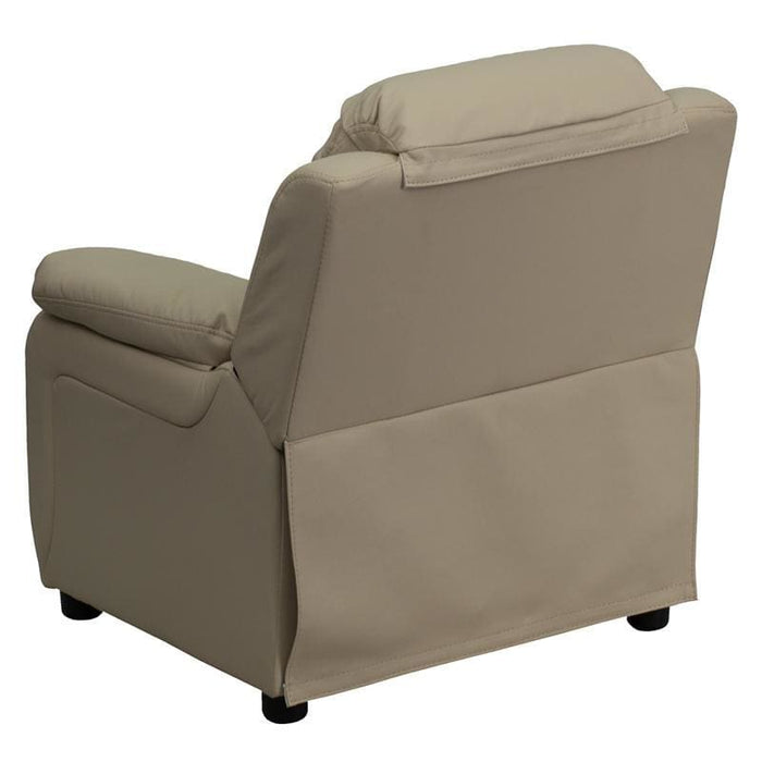 Deluxe Padded Contemporary Beige Vinyl Kids Recliner With Storage Arms - Kids Recliners