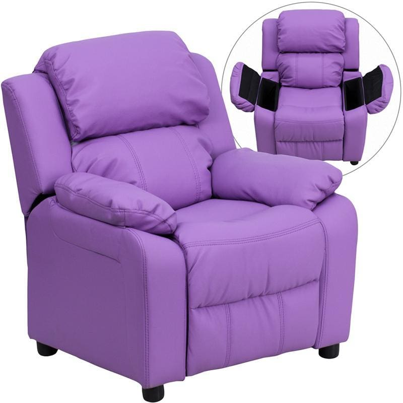 Deluxe Padded Contemporary Lavender Vinyl Kids Recliner With Storage Arms - Kids Recliners