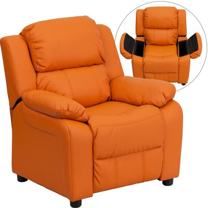 Deluxe Padded Contemporary Orange Vinyl Kids Recliner With Storage Arms - Kids Recliners