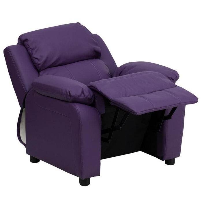 Deluxe Padded Contemporary Purple Vinyl Kids Recliner With Storage Arms - Kids Recliners