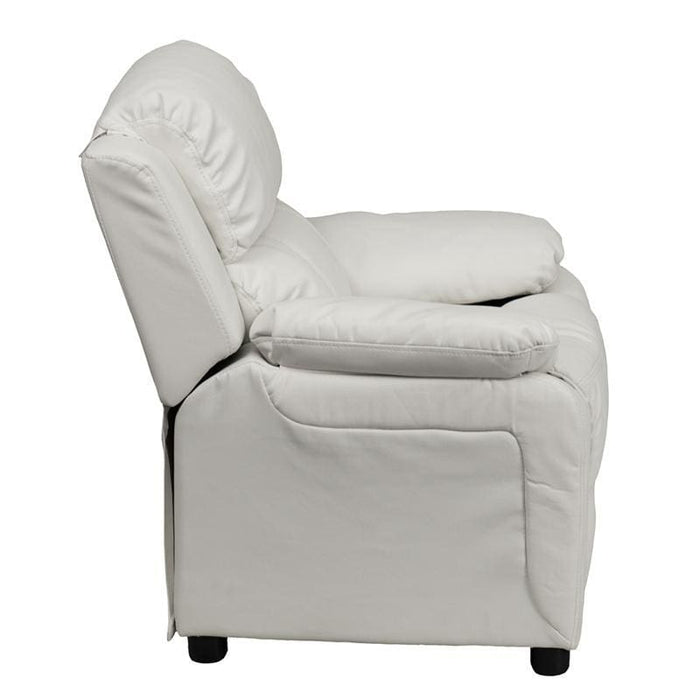 Deluxe Padded Contemporary White Vinyl Kids Recliner With Storage Arms - Kids Recliners