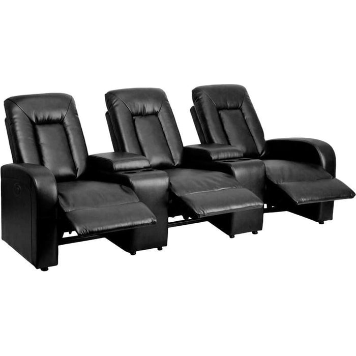 Eclipse Series 3-Seat Push Button Motorized Reclining Black Leather Theater Seating Unit With Cup Holders - Theater Seating