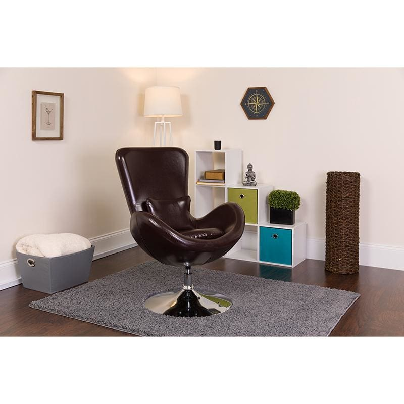 Egg Series Brown Leather Side Reception Chair - Reception Furniture - Chairs