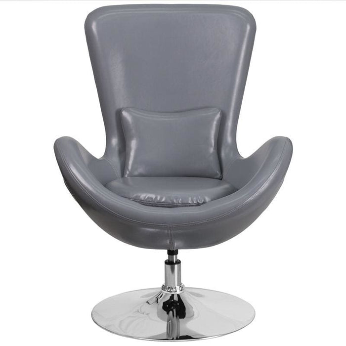 Egg Series Gray Leather Side Reception Chair - Reception Furniture - Chairs