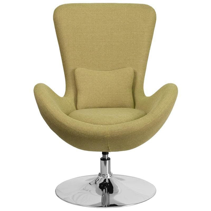 Egg Series Green Fabric Side Reception Chair - Reception Furniture - Chairs