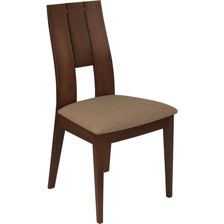 Emerson Walnut Finish Wood Dining Chair With Curved Slat Keyhole Back And Magnolia Brown Fabric Seat - Dining Chairs