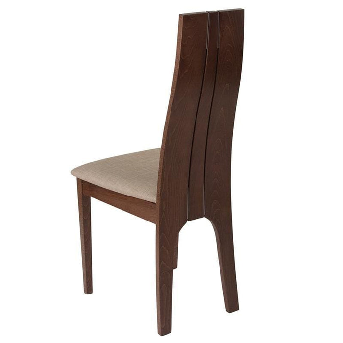 Essex Walnut Finish Wood Dining Chair With Magnolia Brown Fabric Seat - Dining Chairs