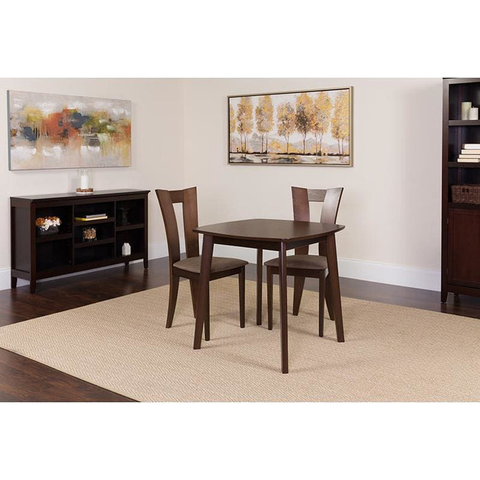 Exeter 3 Piece Espresso Wood Dining Table Set With Slotted Back Wood Dining Chairs - Padded Seats - Dinette Sets