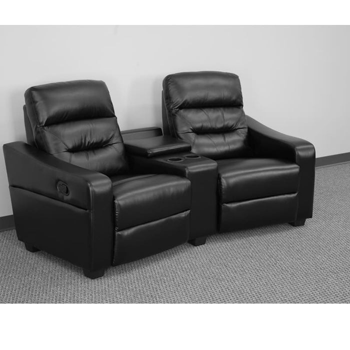 Futura Series 2-Seat Reclining Black Leather Theater Seating Unit With Cup Holders - Theater Seating