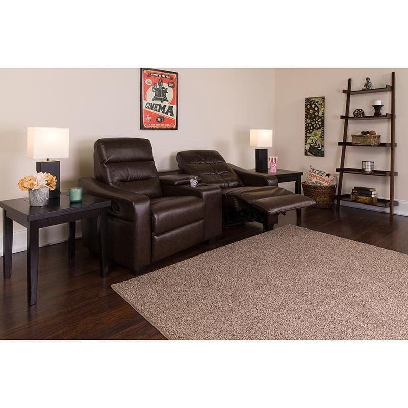 Futura Series 2-Seat Reclining Brown Leather Theater Seating Unit With Cup Holders - Theater Seating