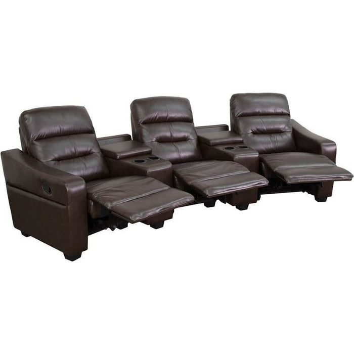 Futura Series 3-Seat Reclining Brown Leather Theater Seating Unit With Cup Holders - Theater Seating