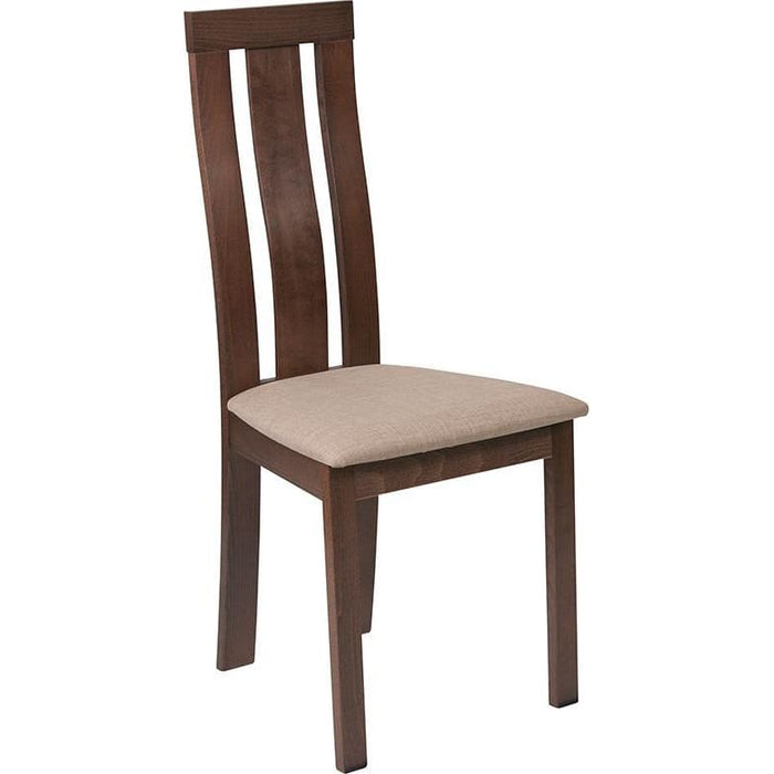 Glenwood Walnut Finish Wood Dining Chair With Vertical Wide Slat Back And Magnolia Brown Fabric Seat - Dining Chairs