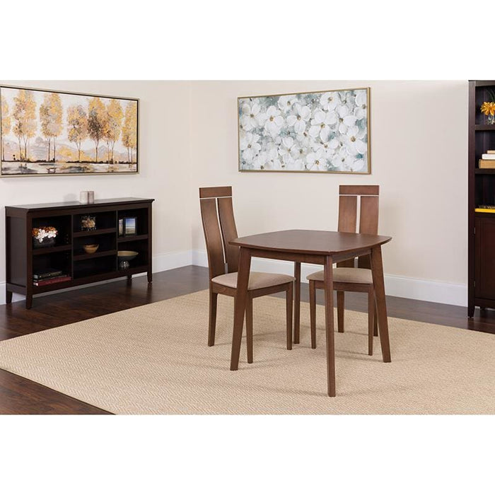 Glocester 3 Piece Walnut Wood Dining Table Set With Clean Line Wood Dining Chairs - Padded Seats - Dinette Sets