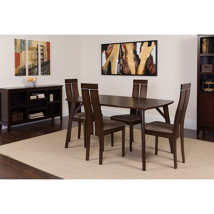 Graham 5 Piece Espresso Wood Dining Table Set With Clean Line Wood Dining Chairs - Padded Seats - Dinette Sets