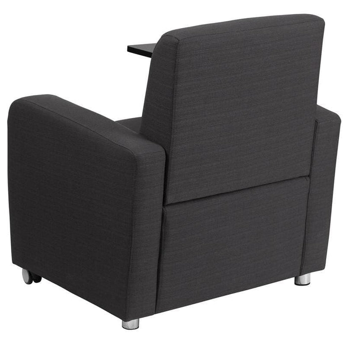 Gray Fabric Guest Chair With Tablet Arm And Front Wheel Casters - Reception Furniture - Chairs