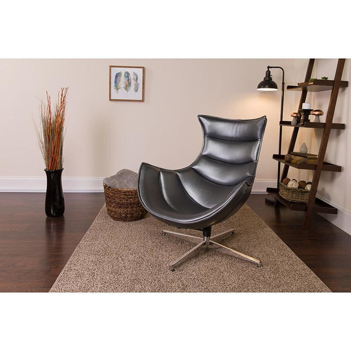 Gray Leather Swivel Cocoon Chair - Reception Furniture - Chairs