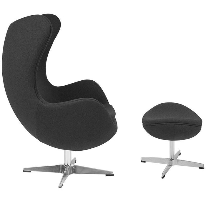 Gray Wool Fabric Egg Chair With Tilt-Lock Mechanism And Ottoman - Reception Furniture - Chair And Ottoman Sets