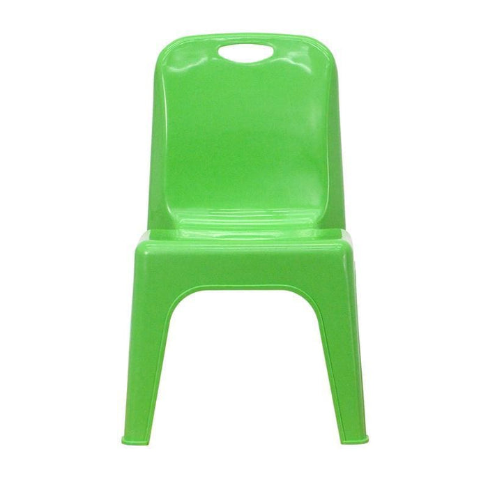 Green Plastic Stackable School Chair With Carrying Handle And 11 Seat Height - Preschool Stack Chairs
