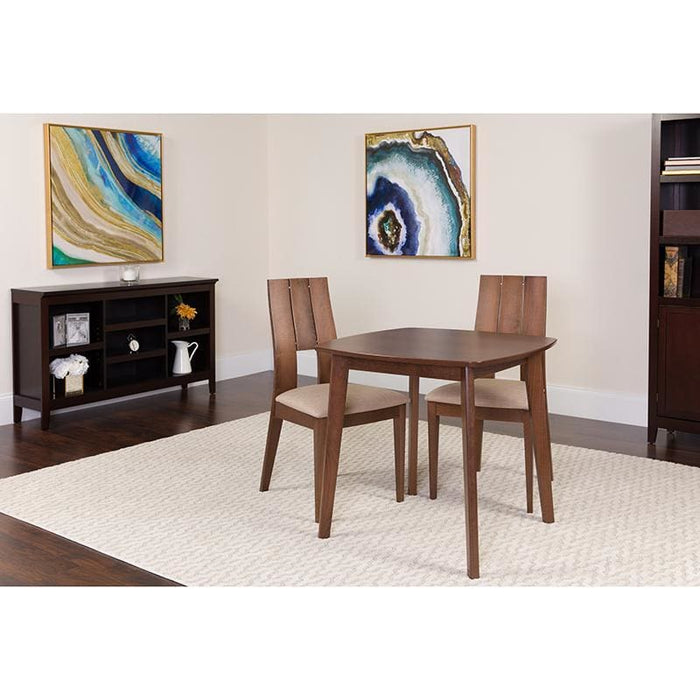 Greenwich 3 Piece Walnut Wood Dining Table Set With Curved Slat Keyhole Back Wood Dining Chairs - Padded Seats - Dinette Sets