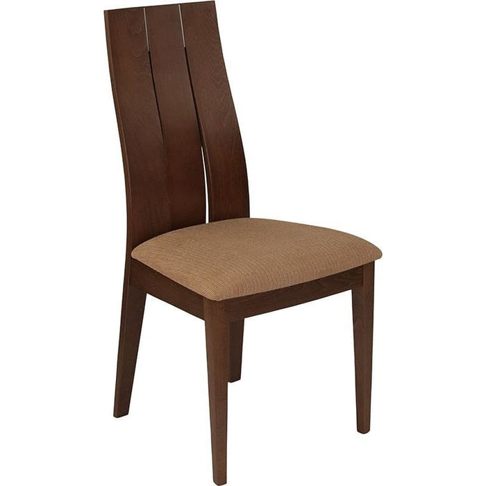 Hadley Walnut Finish Wood Dining Chair With Wide Slat Back And Brown Fabric Seat - Dining Chairs