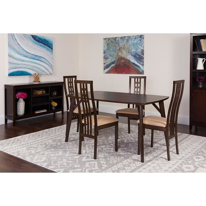 Halstead 5 Piece Espresso Wood Dining Table Set With High Triple Window Pane Back Wood Dining Chairs - Padded Seats - Dinette Sets