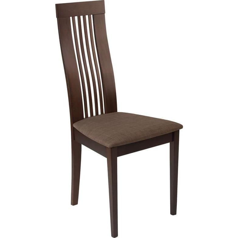 Hamlet Espresso Finish Wood Dining Chair With Framed Rail Back And Golden Honey Brown Fabric Seat - Dining Chairs