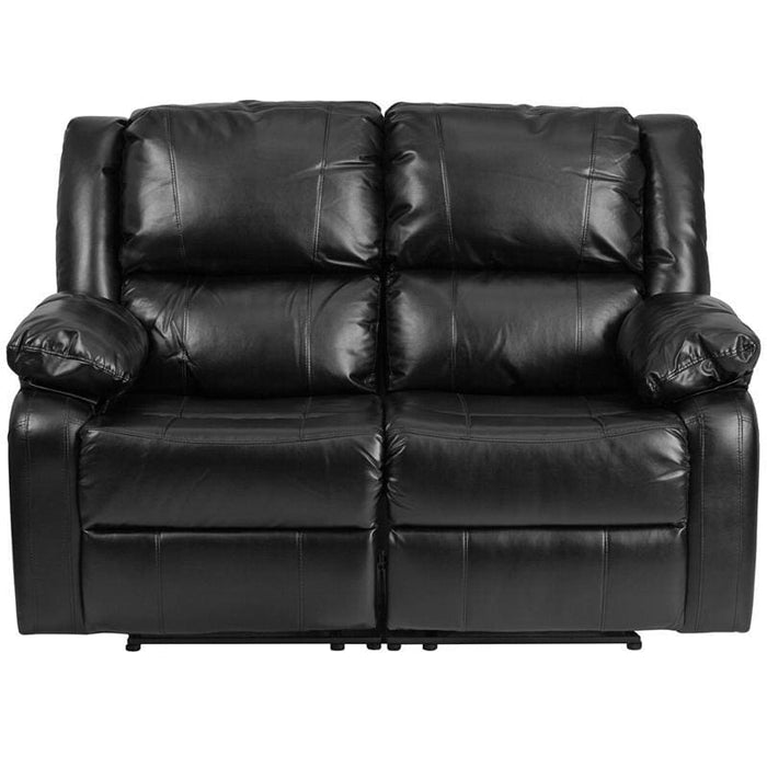Harmony Series Black Leather Loveseat With Two Built-In Recliners - Living Room Loveseats