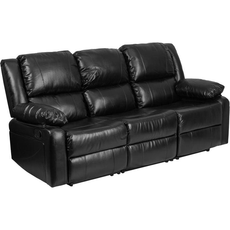 Harmony Series Black Leather Sofa With Two Built-In Recliners - Living Room Sofas