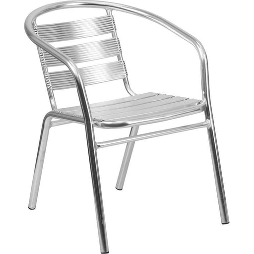 Heavy Duty Commercial Aluminum Indoor-Outdoor Restaurant Stack Chair With Triple Slat Back - Indoor Outdoor Chairs
