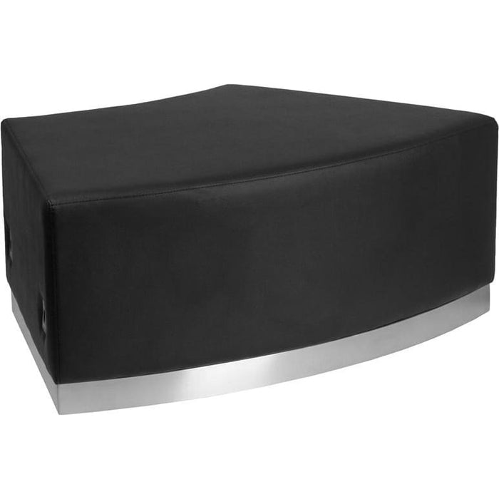 Hercules Alon Series Black Leather Backless Convex Chair With Brushed Stainless Steel Base - Reception Furniture - Chairs