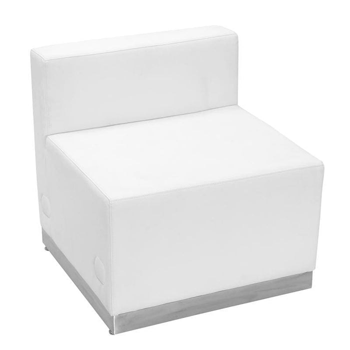 Hercules Alon Series Melrose White Leather Chair With Brushed Stainless Steel Base - Reception Furniture - Chairs
