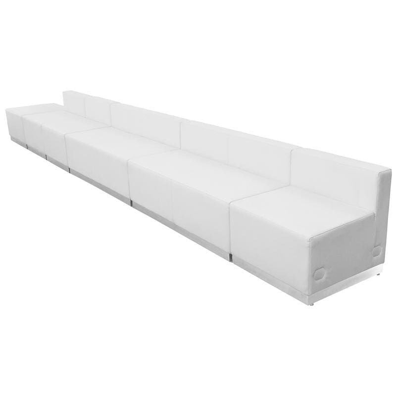 Hercules Alon Series Melrose White Leather Reception Configuration 6 Pieces - Reception Furniture Sets