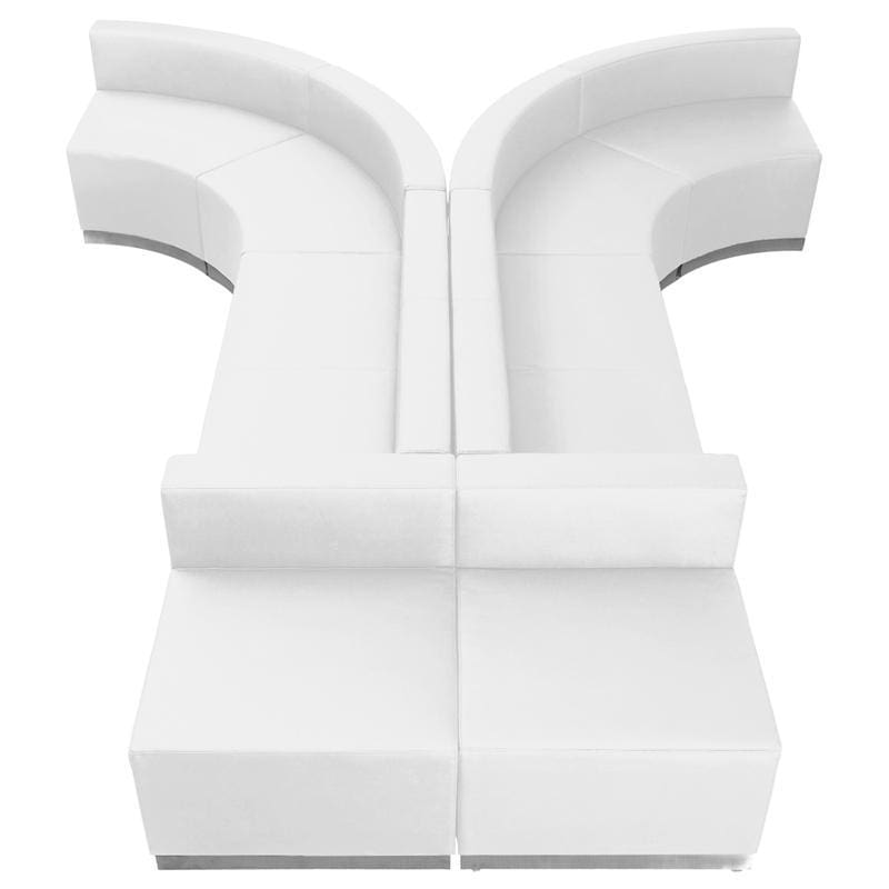 Hercules Alon Series Melrose White Leather Reception Configuration 8 Pieces - Reception Furniture Sets