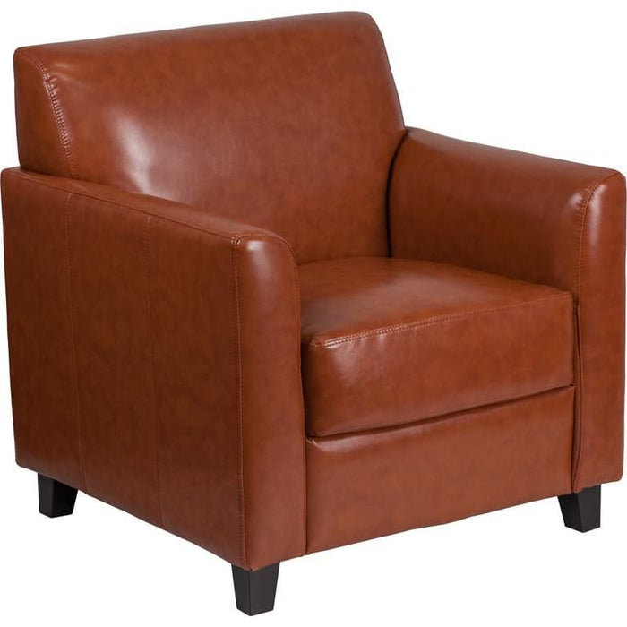 Hercules Diplomat Series Cognac Leather Chair - Reception Furniture - Chairs