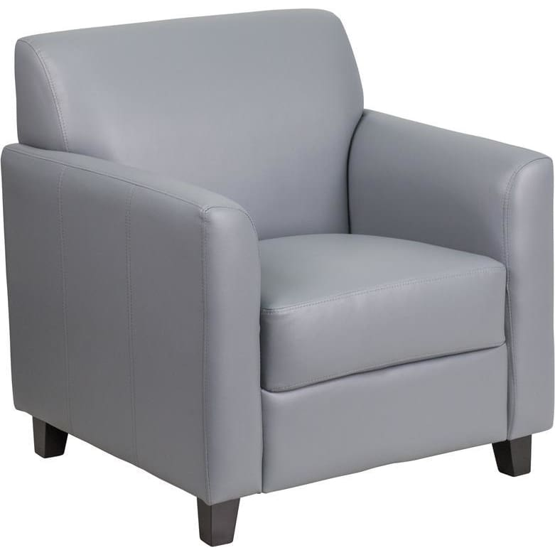Hercules Diplomat Series Gray Leather Chair - Reception Furniture - Chairs