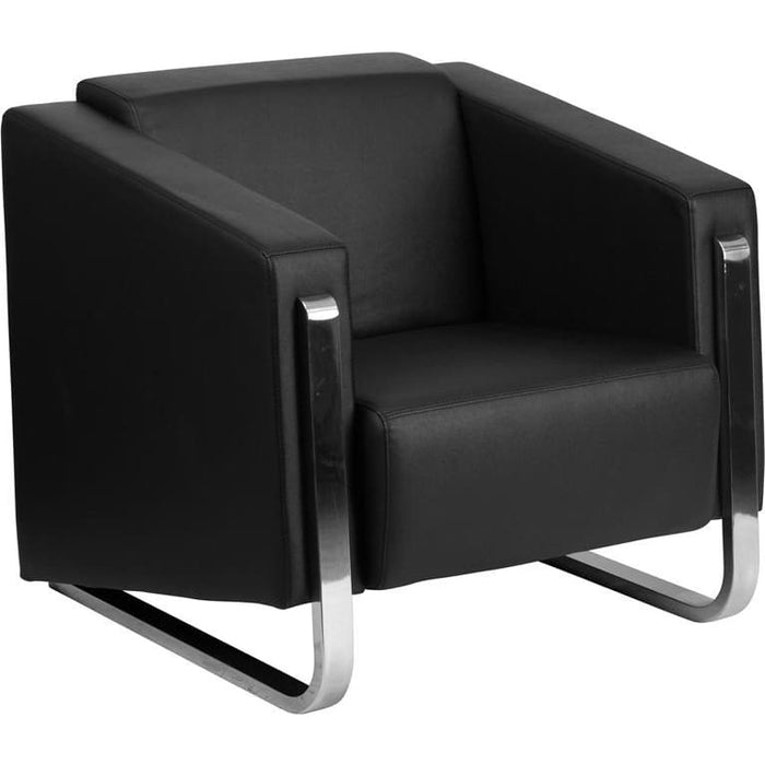 Hercules Gallant Series Contemporary Black Leather Chair With Stainless Steel Frame - Reception Furniture - Chairs
