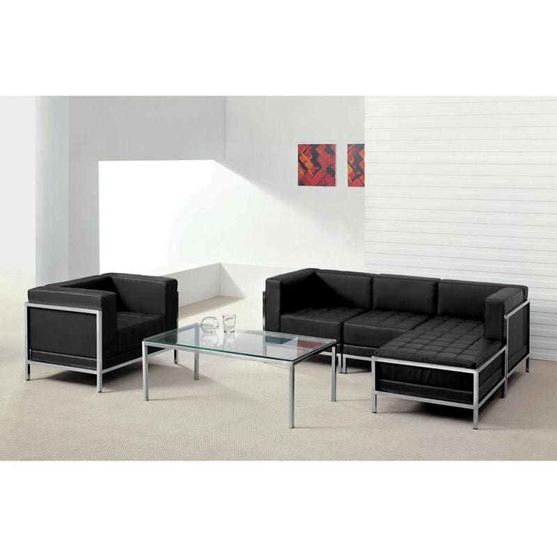 Hercules Imagination Series Black Leather Sectional & Chair 5 Pieces - Reception Furniture Sets
