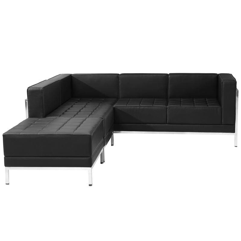 Hercules Imagination Series Black Leather Sectional Configuration 3 Pieces - Reception Furniture Sets