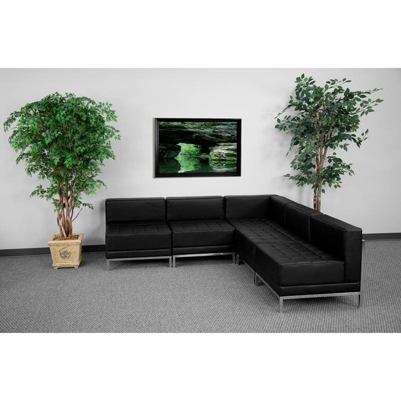 Hercules Imagination Series Black Leather Sectional Configuration 5 Pieces - Reception Furniture Sets