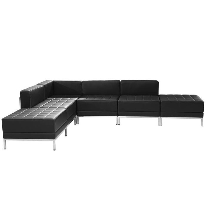 Hercules Imagination Series Black Leather Sectional Configuration 6 Pieces - Reception Furniture Sets