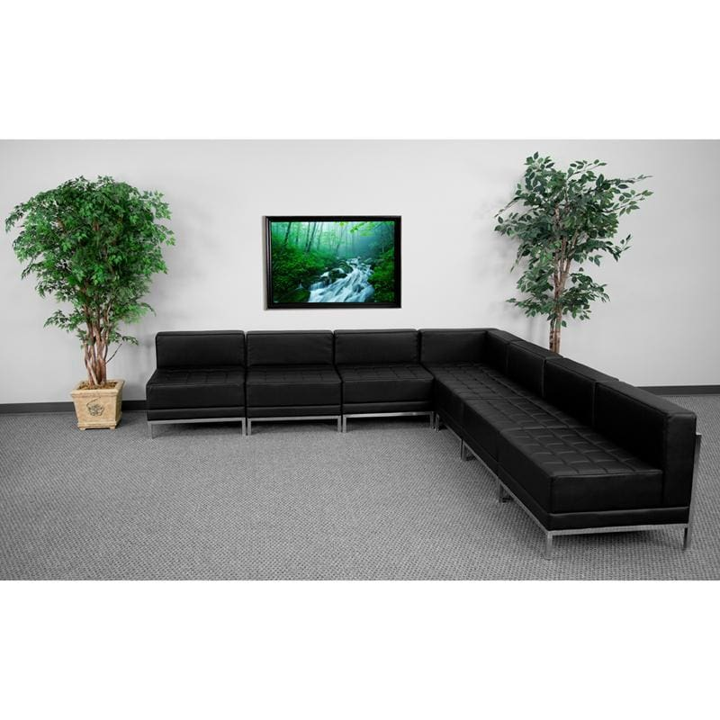 Hercules Imagination Series Black Leather Sectional Configuration 7 Pieces - Reception Furniture Sets